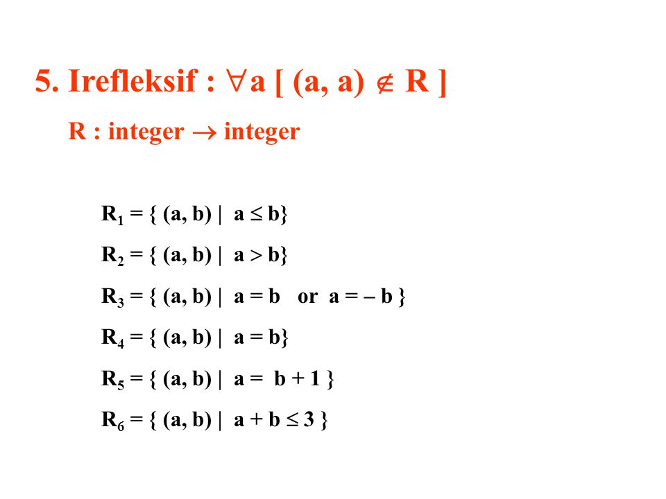 5. Irefleksif : a [ (a, a)  R ]